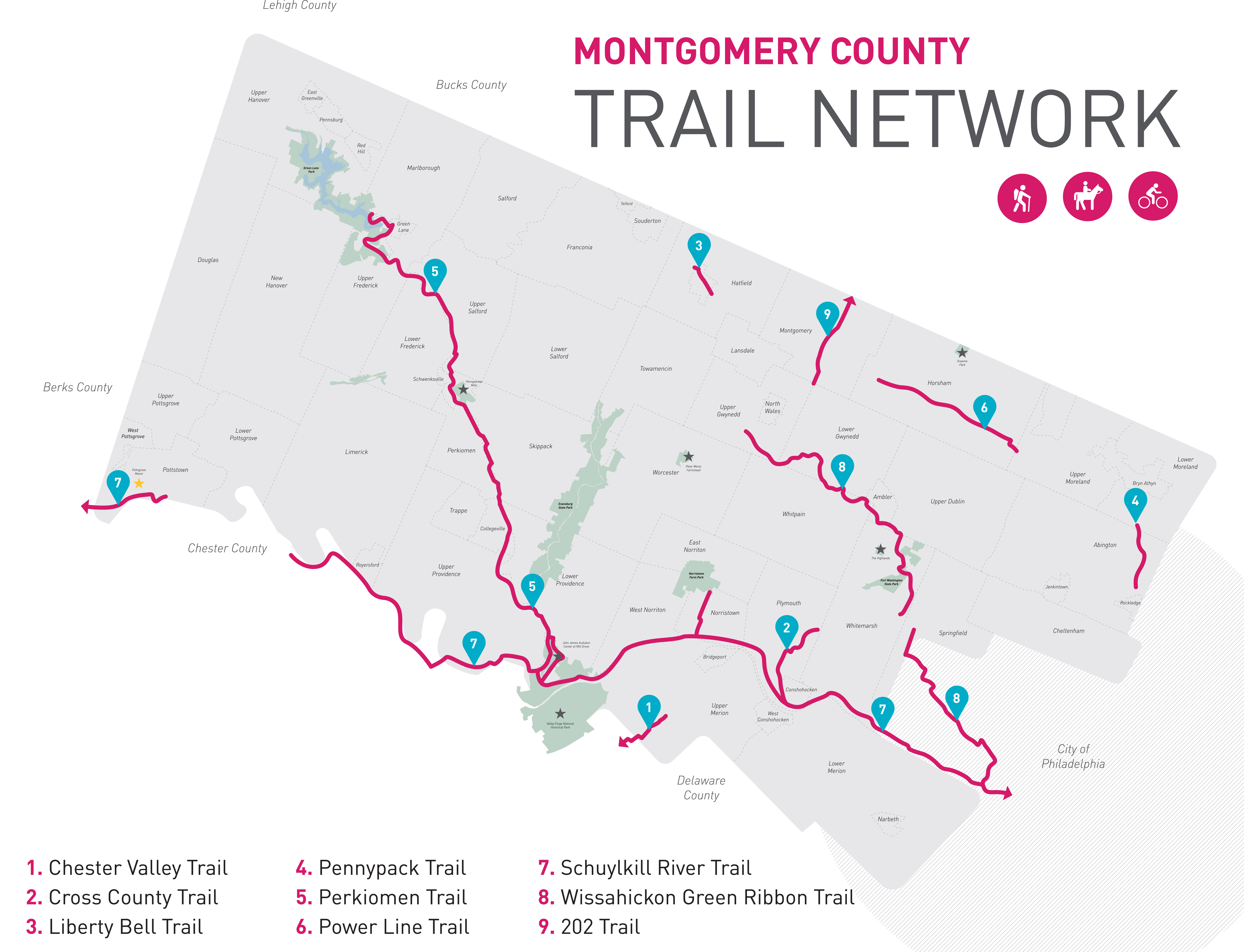 Montgomery County Trail Network | Valley Forge Trail Maps on berks county, plymouth township pa map, king of prussia, lancaster county pa map, lehigh valley, tioga county pa map, fulton county pa map, monroe county pa map, allegheny county, schuylkill county, pennsylvania county map, washington county pa map, chester county road map, hazleton pa map, westmoreland county pa map, somerset county pa map, bucks county, philadelphia zip code map, washington county, north wales, philadelphia county, lehigh county pa map, wayne county pa map, lancaster county, lehigh county, delaware county, carbon county pa map, crawford county pa map, monroe county, downingtown pa map, chester county, franklin county, northampton county pa map, bucks county pa map, jenkintown pa map, lackawanna county, delaware valley,