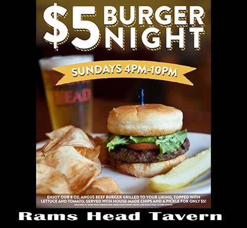 $5 Burger Night at Rams Head Tavern