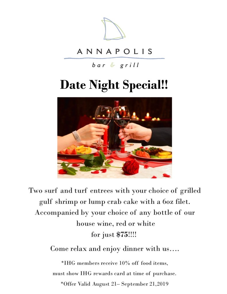 Annapolis Bar & Grill Date Night Special!