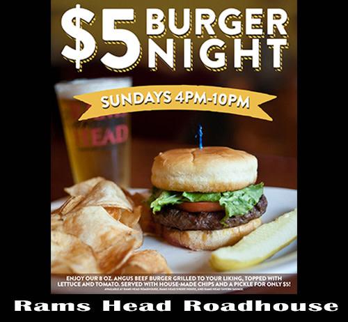 $5 Burger Night at Rams Head Roadhouse