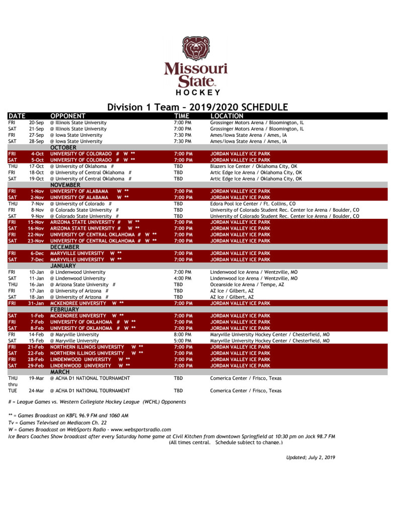 2019-20 Missouri State Ice Bears Hockey - Springfield Missouri